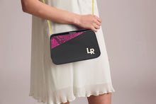 Sera - shoulder leather bag - black&fuchsia