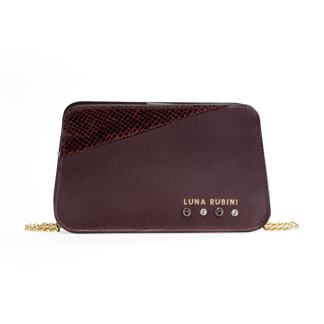Preziosa - shoulder leather bag with strass
