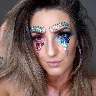 Festival Makeup with Pink Glitter and Blue Glitter