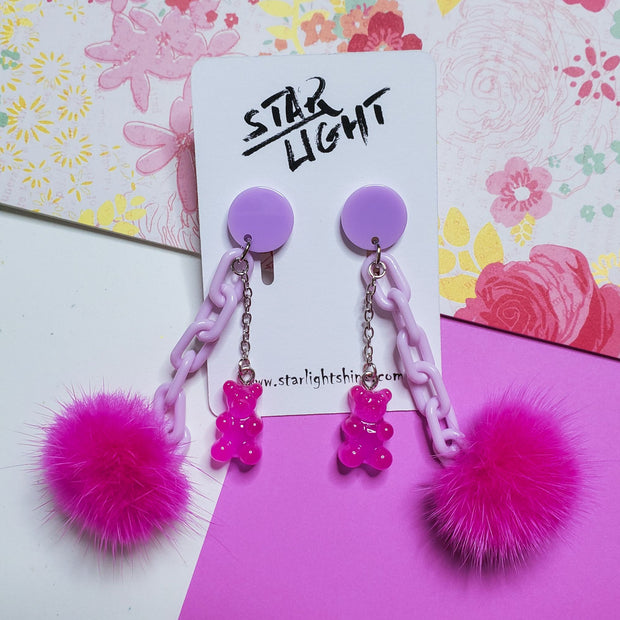 Fluffy Bear Earring Starlight
