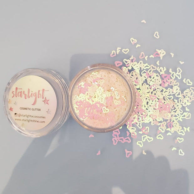 Iridescent White Hollow Heart Glitter - Starlight