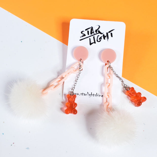 Pastel peach Fluffy Bear Earring Starlight