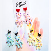 Cream Dazzle Bear Earring Starlight