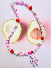 Pink Dazzle Bear Necklace Starlight