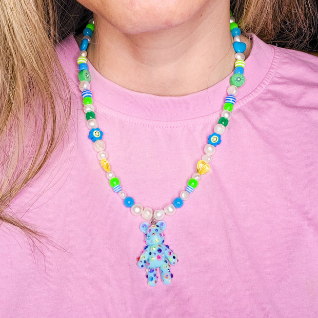 Blue Dazzle Bear Necklace Starlight