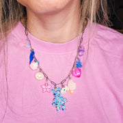 Paperclip Charm Necklace Starlight - Blue Bear