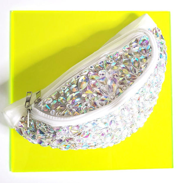 Jeweled Clear White Fanny Pack - Starlight