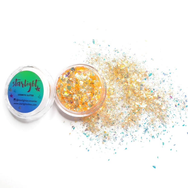Neon Light Orange Glitter Flakes (UV reactive) - Starlight