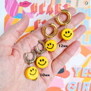 Smiley Face Earring Starlight - Choose the hoop size