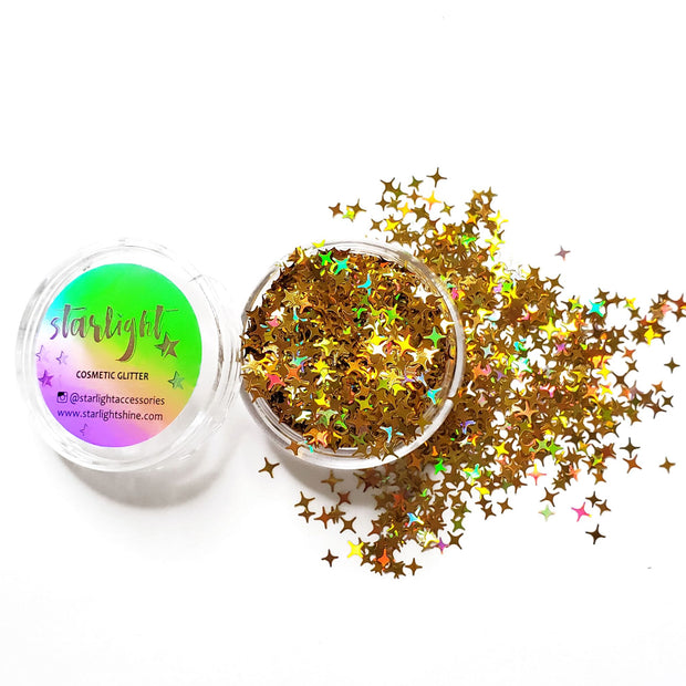 Holo Gold 4-Point Star Glitter - Starlight