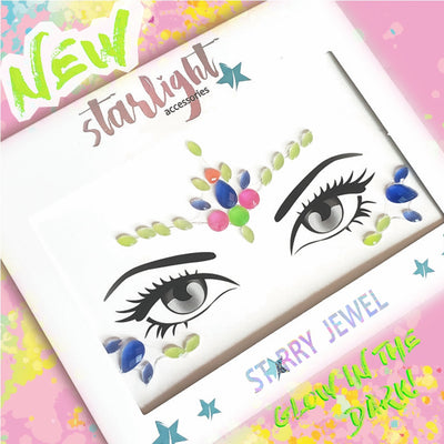 Queen Neon Face Jewel GLOW UNDER BLACK LIGHT - Starlight