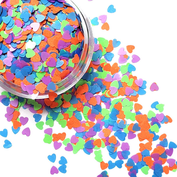 Neon Heart Glitter (UV reactive) - Starlight
