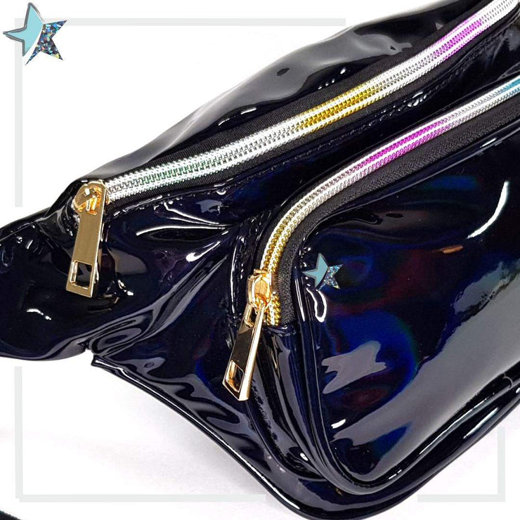 Holographic Black Waist Bag