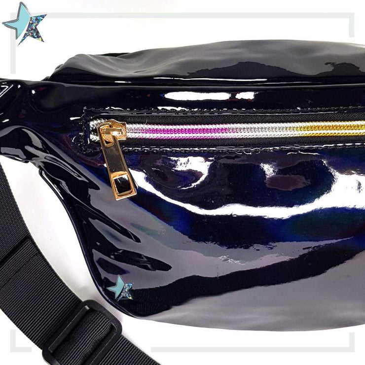 Holographic Black Fanny Pack - Starlight