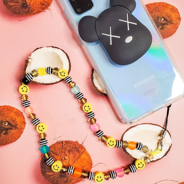 Smiley Face Beaded Phone Charm