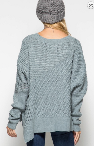 Slate Blue Oversized Sweater