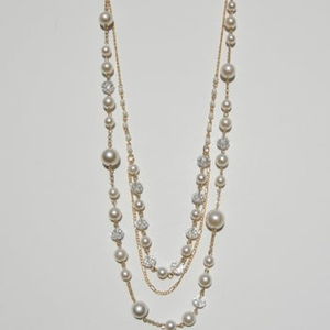 Faux Pearl Necklace with Gold Chain