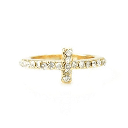 Rhinestone Cross Midi Ring