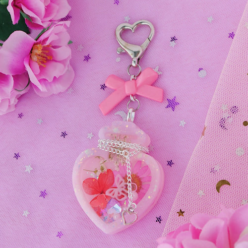 Magical Heart Flower Shaker Potion Charm