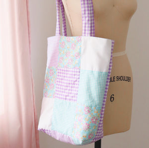 Purple and Blue Patch Quilted Tote Bag