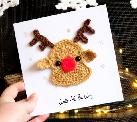 Luxury Rudolph the Red Nose Reindeer Christmas Card - Handmade