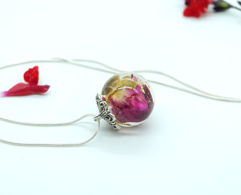 Rose Pressed Flower Necklace - Handmade Resin Jewelry