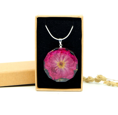 925 Sterling Silver Rose Necklace - Hand Pressed Flower Jewelry