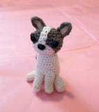 French Bulldog/Boston Terrier Plush Stuffed Toy. Handmade Customised Crochet Pet Portrait.