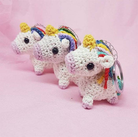 Unicorn Keyring Plush - Handmade Crochet Stuffed Animal Toy