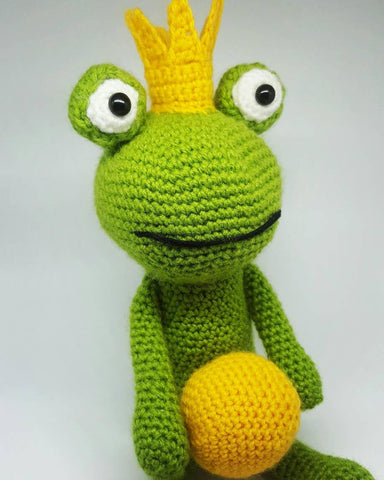 Frog Prince Fairytale Plush - Handmade Crochet Stuffed Animal Toy.