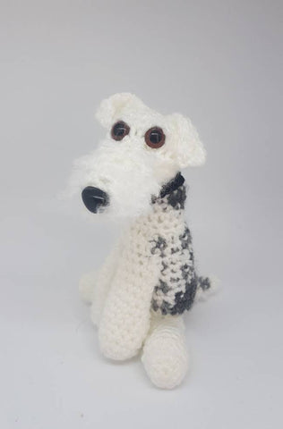 Wirefox Terrier dog plush - Handmade Crochet custom stuffed animal toy.