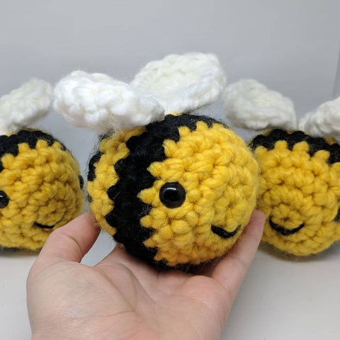 bumble bee toy plush - handmade crochet stuffed animal.