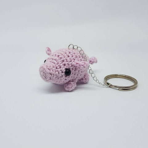 Pig keyring/feyfob - Handmade crochet stuffed animal.