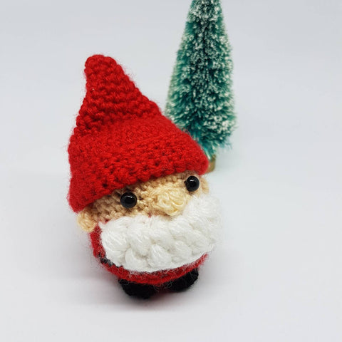 Santa Father Christmas Plush - Handmade crochet stuffed tree decoration.