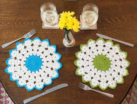 Colourful star dining placemets - handmade crochet tableware