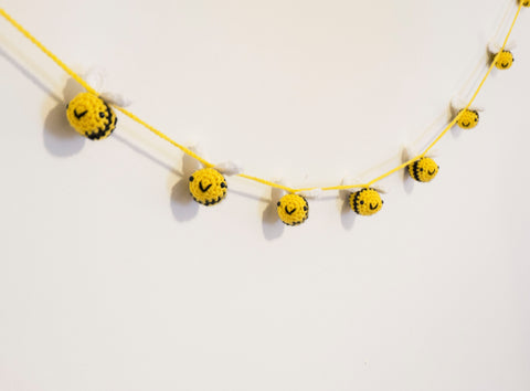 Bumble Bee Bunting - handmade crochet home and party decoration