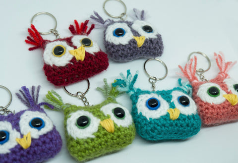 Owl Keyring - handmade crochet stuffed animal keyfob.