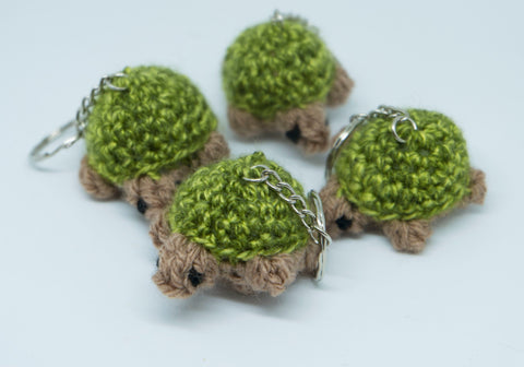 Tortoise/Turtle Keyring - handmade crochet stuffed animal keyfob.