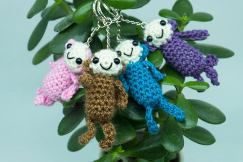 Monkey Keyring - Handmade Crochet Stuffed Animal Key Fob