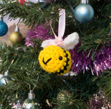 Christmas Bauble Bumble Bee Plush. Lovingly Handmade Crochet Stuffed Animal. Personalised Gift Option.