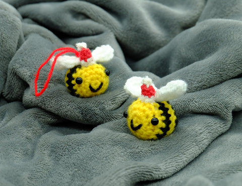 Santa Bumble Bee Plush or Keyring. Lovingly Handmade Crochet Stuffed Animal. Personalised Gift Option