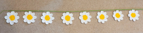 Daisy Bunting - handmade crochet home and party floral decoration