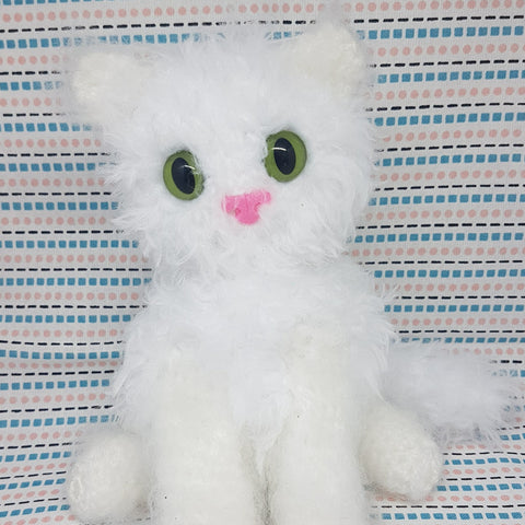 White fluffy Persian Cat plush. Handmade crochet stuffed cuddly toy.