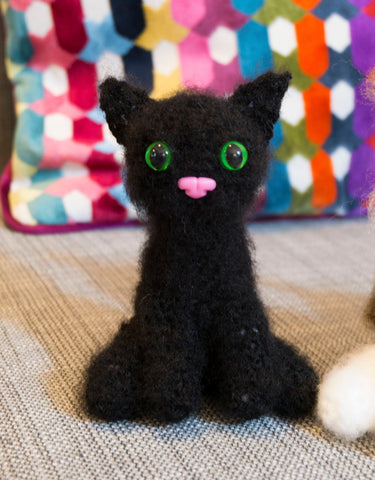 black cat plush - handmade crochet suffed animal