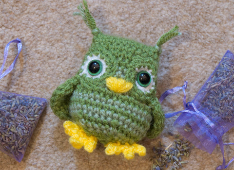 Owl Lavender Pillow Pouch - Sleep aid and calming anxiety. Handmade Crochet stuffed animal.