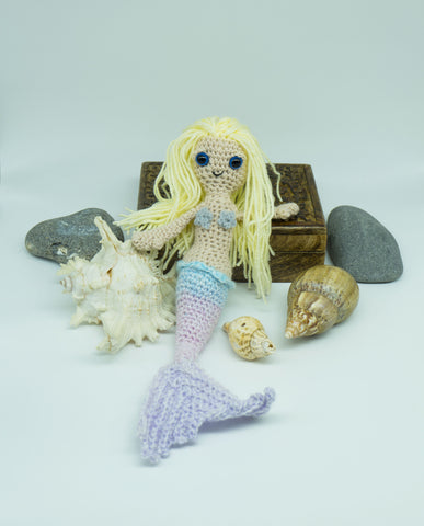 Mermaid Plush Doll - Handmade Crochet Stuffed Toy.