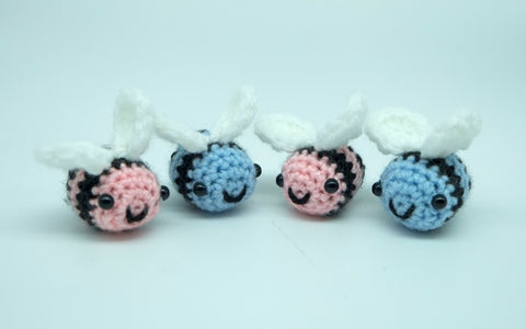 Bumble Bee plush/keyring. handmade crochet stuffed animal in pink and blue. gift box option.