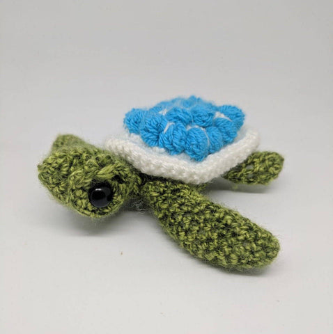 Sea Turtle Plush - handmade crochet stuffed animal sea creature.