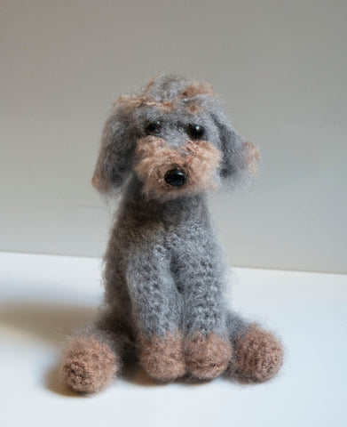 Cockapoo/ Labradoodle Scruffy Dog Plush, Grey and Brown. Handmade Crochet Personalised Dog Pet Portraits.