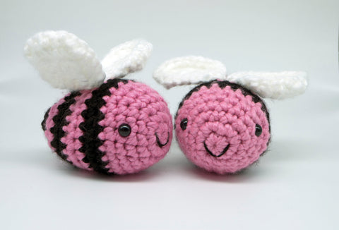Big bumble bee pink toy plush - handmade crochet stuffed animal.